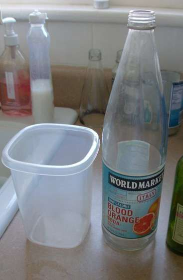 Dish soap, water, and container. ~ To easily remove labels off of glass bottles. (Click Next to see steps with images).
