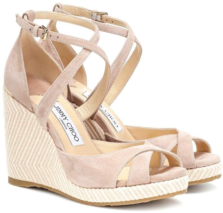 23ef8b28c9 Jimmy Choo Alanah 105 suede wedge sandals in 2019   Products   Wedge ...
