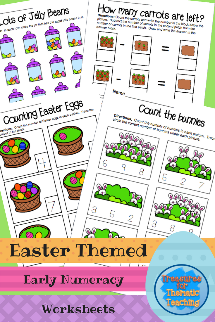 Easter Math Theme, Early Numeracy Worksheets | Pinterest
