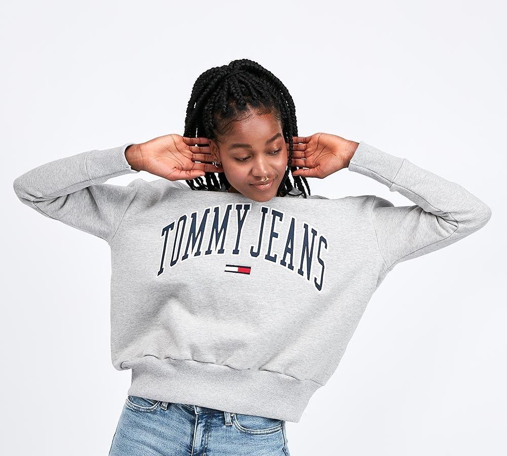 Tommy Jeans Womens Collegiate Sweatshirt Grey Footasylum Tommy Jeans Sweatshirt Retro Sweatshirts Tommy Jeans [ 900 x 1000 Pixel ]