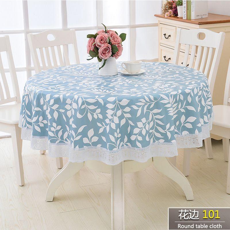 Elegant Waterproof Oilproof Pastoral Flower Style Round Table