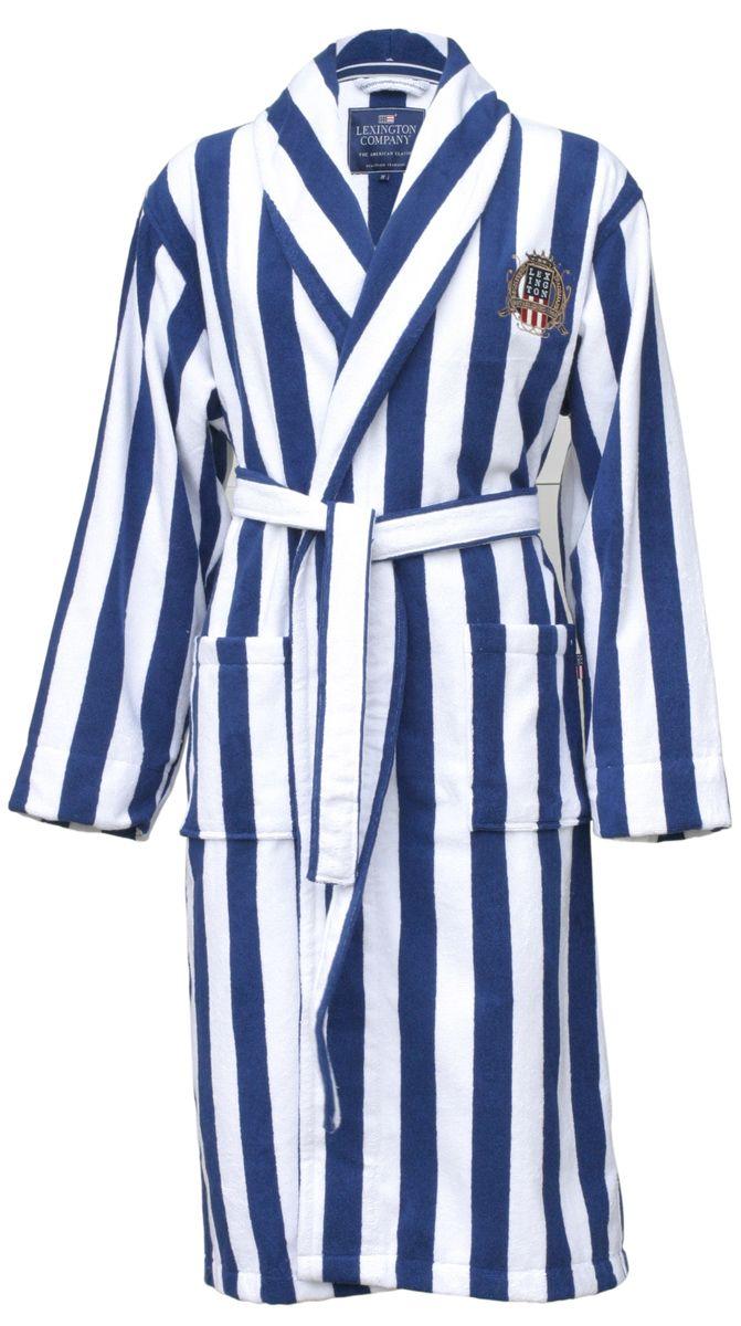 Lexington Blue Stripe & Crest Bathrobe