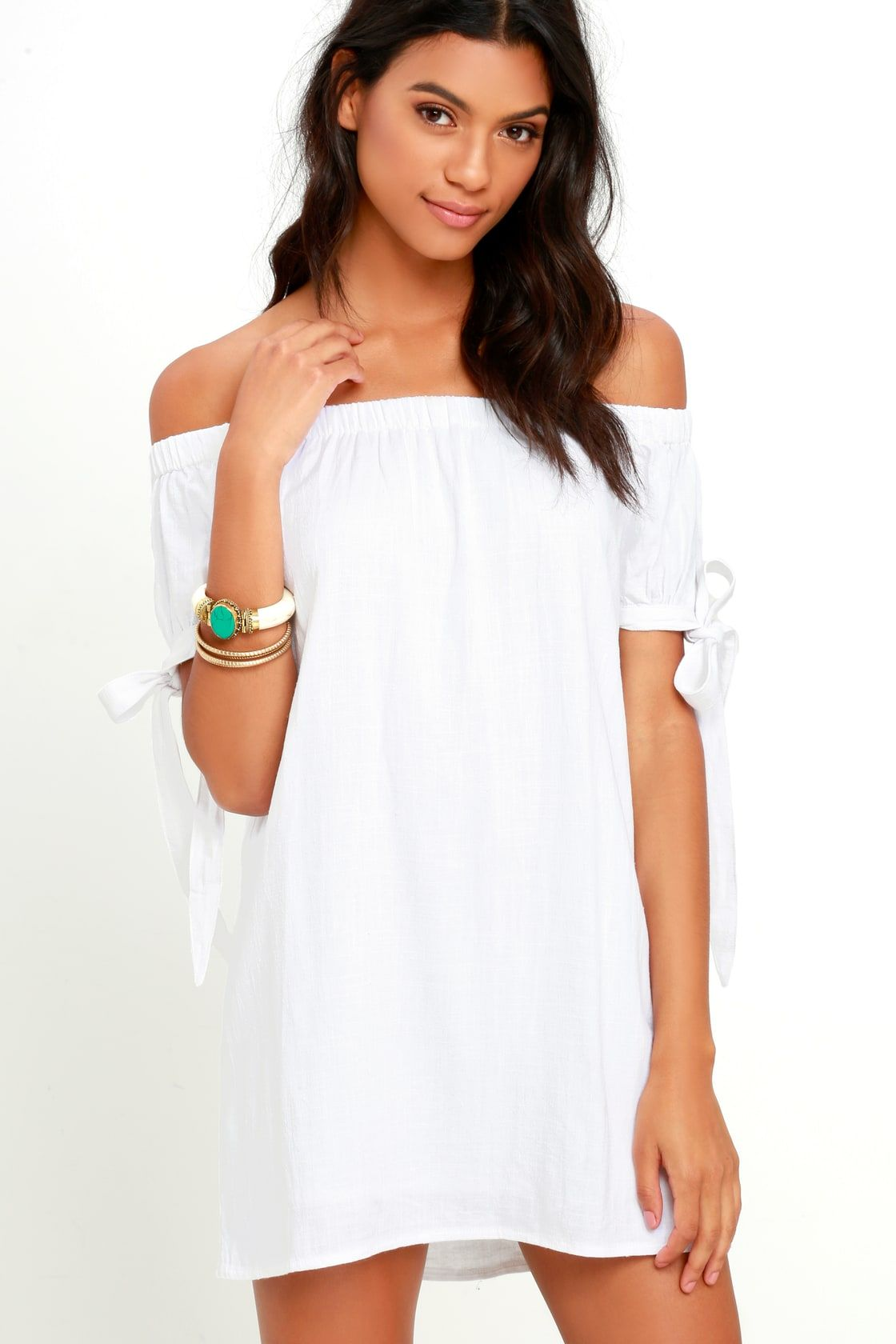 d65fc9bf77446 Al Fresco Evenings Ivory Off-the-Shoulder Dress in 2019