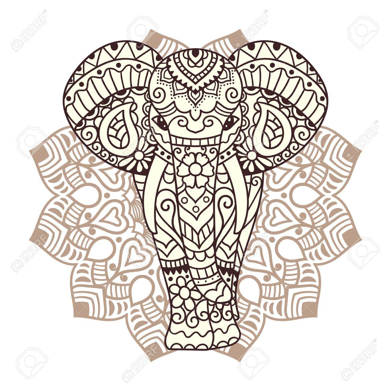 Dekorative Elefant Mit Mandala Indian Thema Mit Ornamenten Vector Isolierte Tattoo Elefanten Elefanten Bilder Mandala Elefant