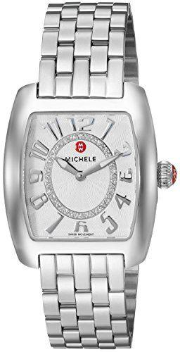 MICHELE Women's 'Urban Mini' Swiss Quartz Stainless Steel Casual Watch, Color:Silver-Toned (Model: MWW02A000585)