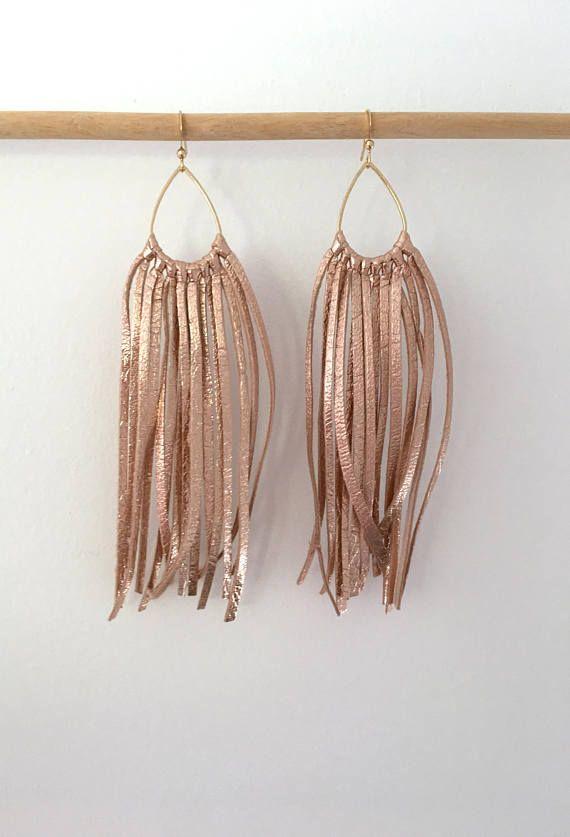 Photo of Rose gold ITALIAN leather fringe earrings leather tassel earrings leather jewelry leather fringe earrings
