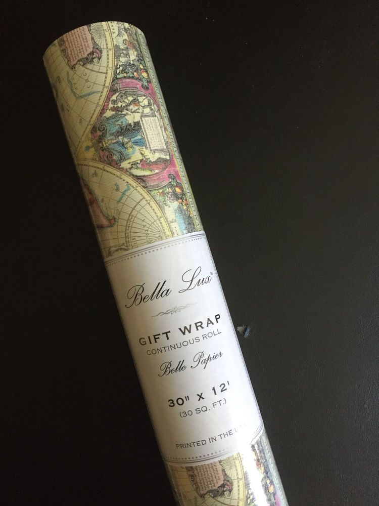 Bella lux continuous roll wrapping paper vintage textured world bella lux continuous roll wrapping paper vintage textured world map latin script gumiabroncs Choice Image