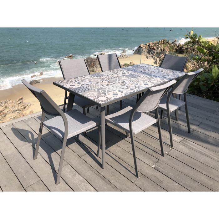 Ensemble 1 table rectangulaire avec 6 chaises en métal et plateau en ...