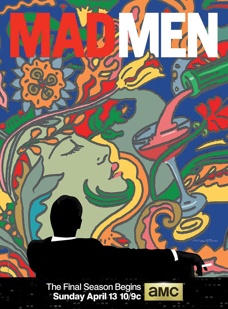 """AMC has unveiled the official poster for the final season of Mad Men, designed by renowned artist Milton Glaser. As Glaser explains in an exclusive interview with amc.com, the imagery plays on recurring themes from the series,""""notably the head of a woman and the wine being poured."""" Another familiar element that Glaser incorporates is """"the figure that has become symbolic of the program"""" — the iconic silhouette of Don Draper from the show's opener."""