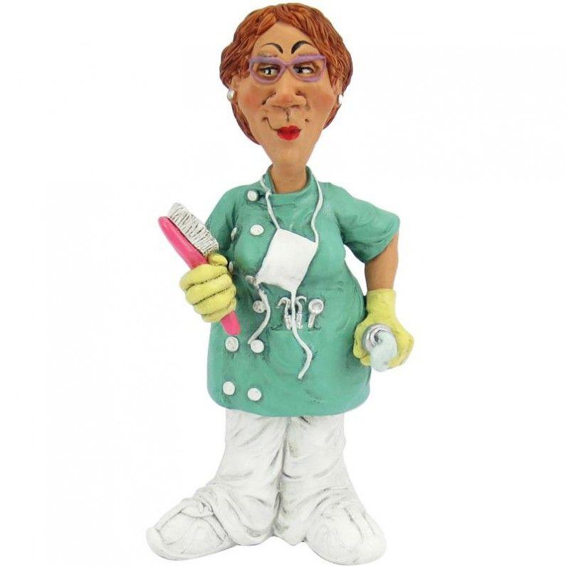 Funny jobs, beeldje vrouwelijke tandarts, figurine female dentist ...