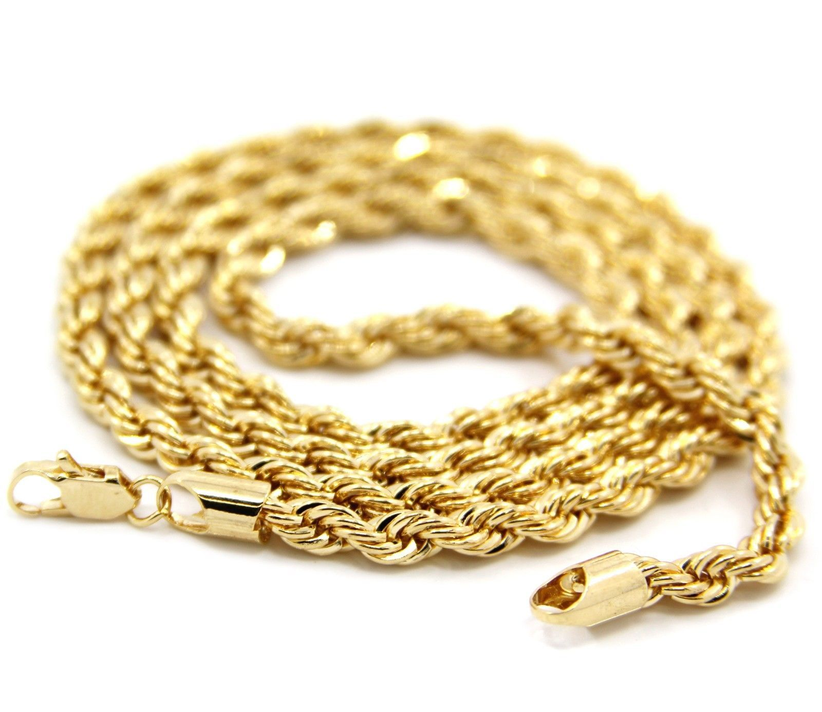 Mens 14k Yellow Gold Plated 4mm Rope Chain Necklace 20 Inches Kc Gold Chains For Men Mens Chain Necklace Gold Rope Chains