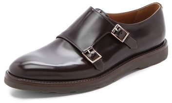 $565, Dark Brown Leather Double Monks: Paul Smith Pitt Monk Strap Oxfords. Sold by East Dane. Click for more info: http://lookastic.com/men/shop_items/32815/redirect