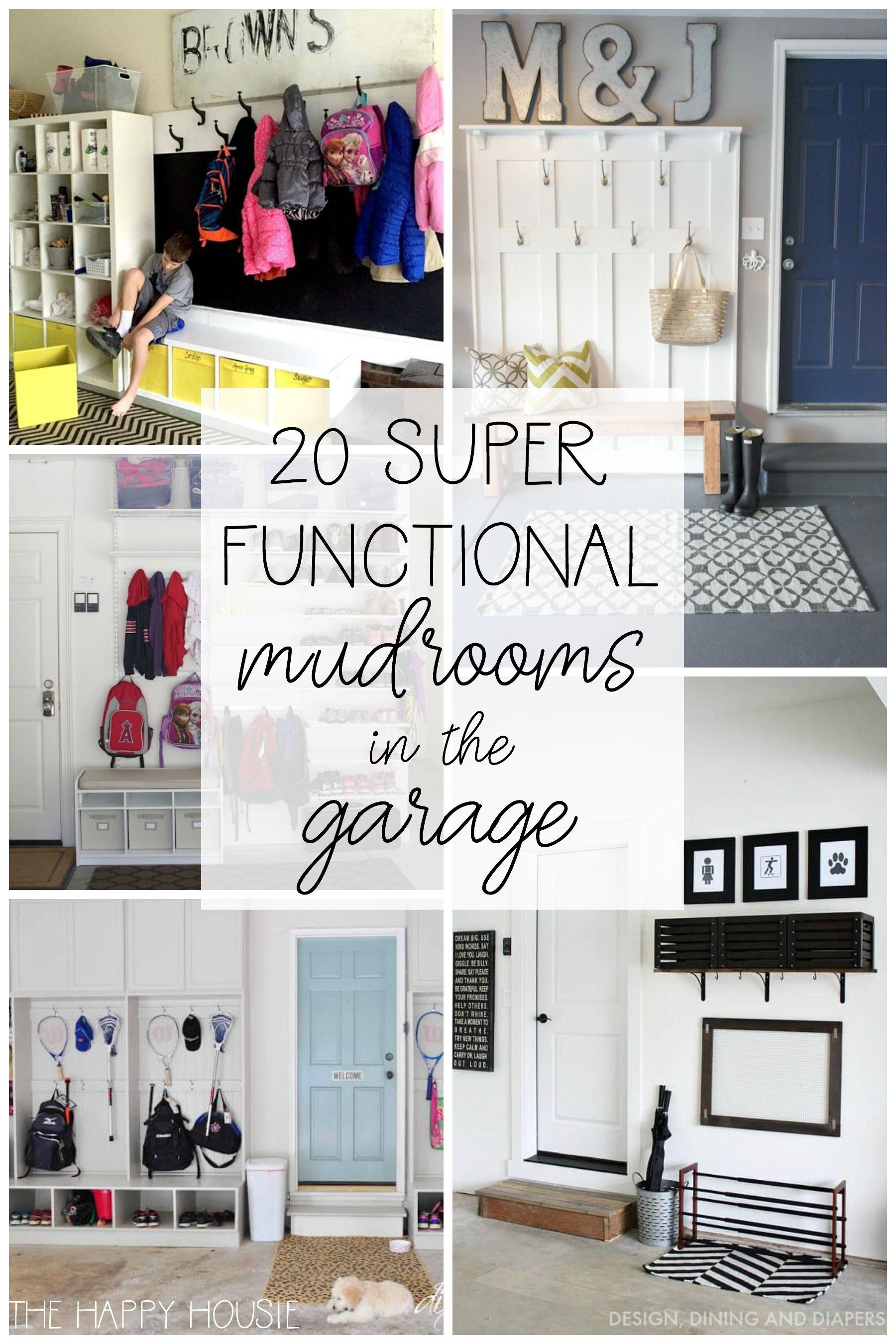 20 Super Functional Diy Garage Mudrooms The Happy Housie Mud Room Garage Garage Laundry Garage Decor