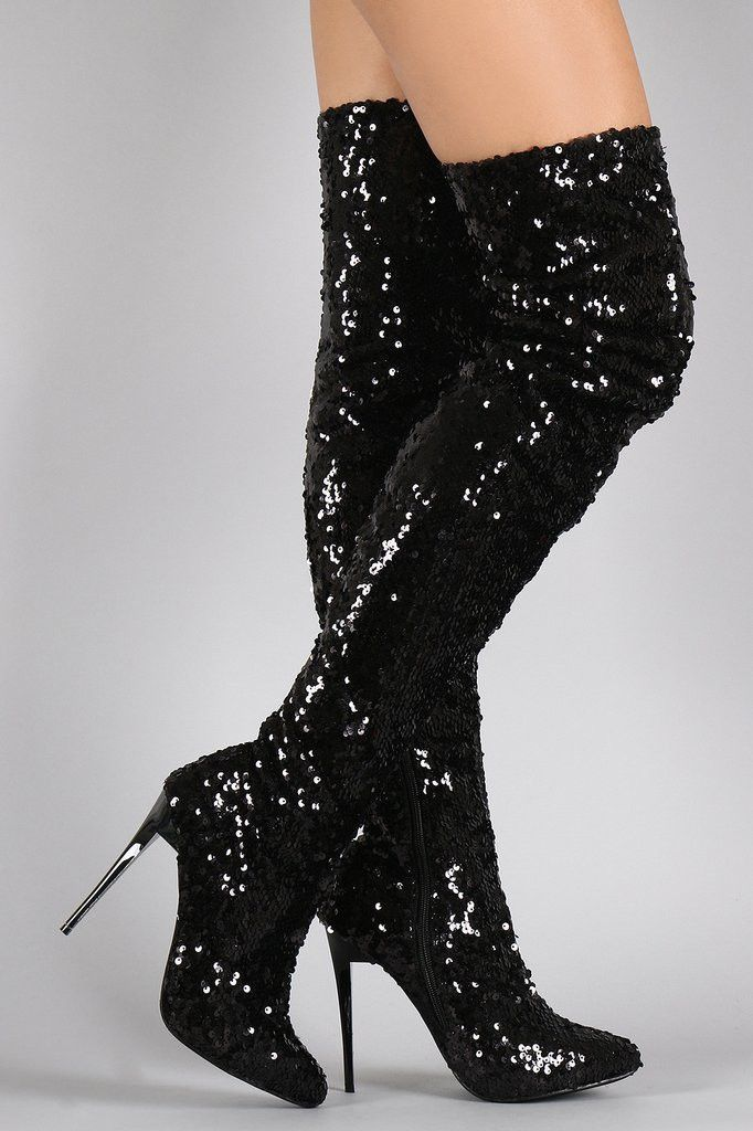7629374cfd Sequin Pointy Toe Stiletto Over-The-Knee Boots | Beads & Sequence ...