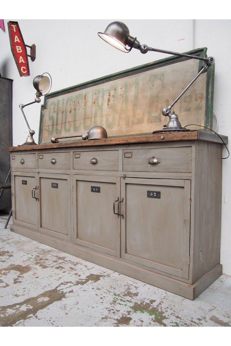 Meuble En Bois De 4 Portes Et 4 Tiroirs Mobilier De Salon Ameublement Industriel Vintage Relooking Meuble
