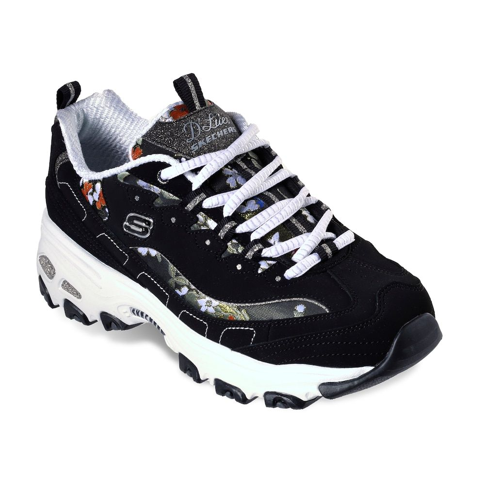 Skechers Skechers D Lites Floral Days Women's Black & White Lace Up Trainers