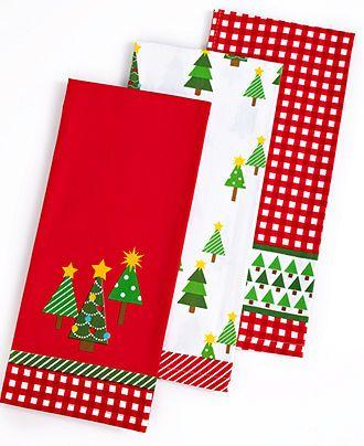 Martha Stewart Collection Kitchen Towels Set Of 3 Christmas