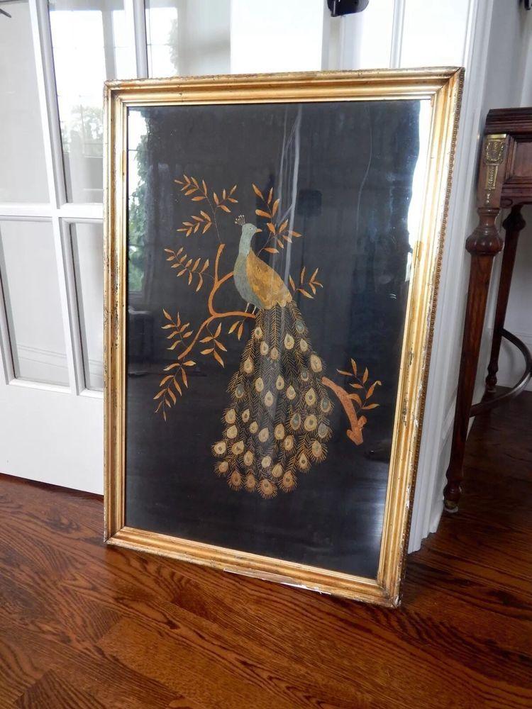 Art nouveau antique embroidery peacock bird gilt framed