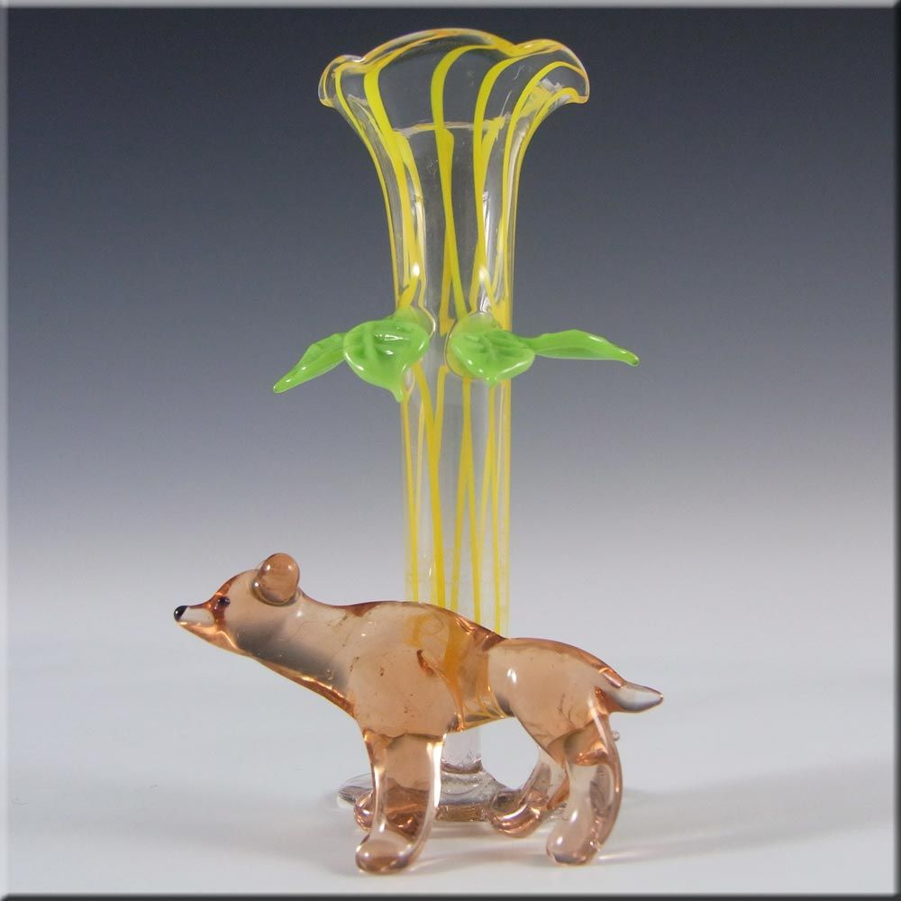 Lauschaer Glas Bimini / Lauscha Yellow Lampworked Glass Vase / Dog - £23