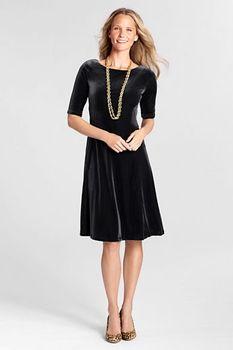 88a3496a154f #Women's Regular Elbow Sleeve Velvet #Dress @Lands' End $69.00 via Catalog  Spree!