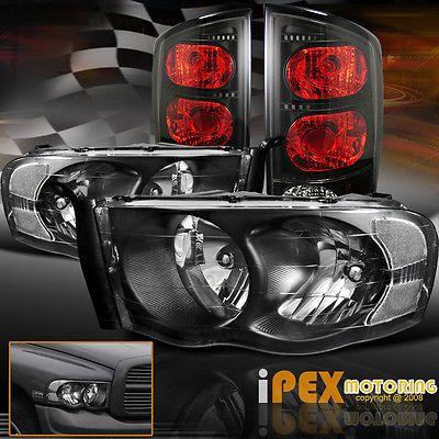 2002 2005 Dodge Ram 1500 2500 3500 Black Headlights W Smoked Black Tail Lights Dodge Ram 1500 Dodge Ram Black Headlights