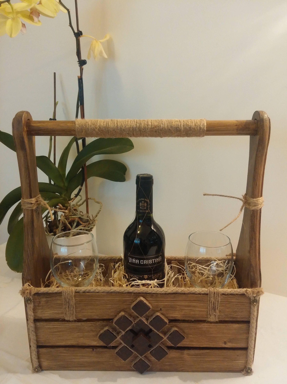 Wine Box Decor Christmas Gifts Wine Caddy Wine Box  Rustic Home Decor Wood