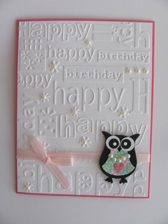Owl Birthday Card Embossed Card Pink Handmade By Sassyscrapscrafts
