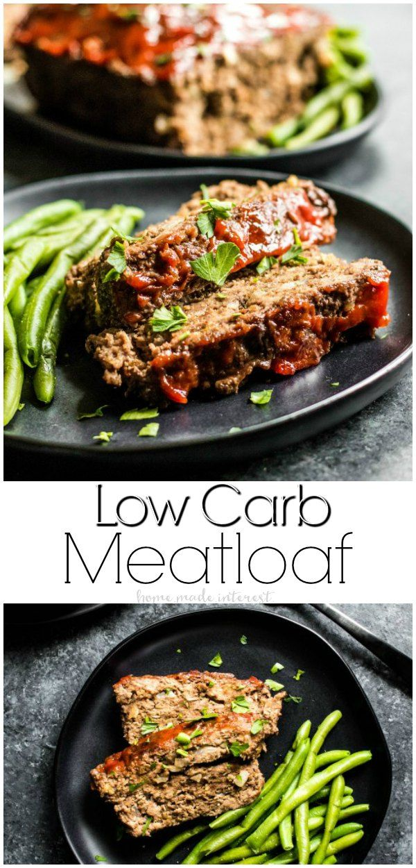Low Carb Meatloaf | This low carb comfort food is just as good as the original! This easy recipe for a low carb meatloaf has a soft, moist texture, with lots of flavor. Top it with a low carb sauce and serve it with green beans for a low carb dinner recipe that the whole family will love!