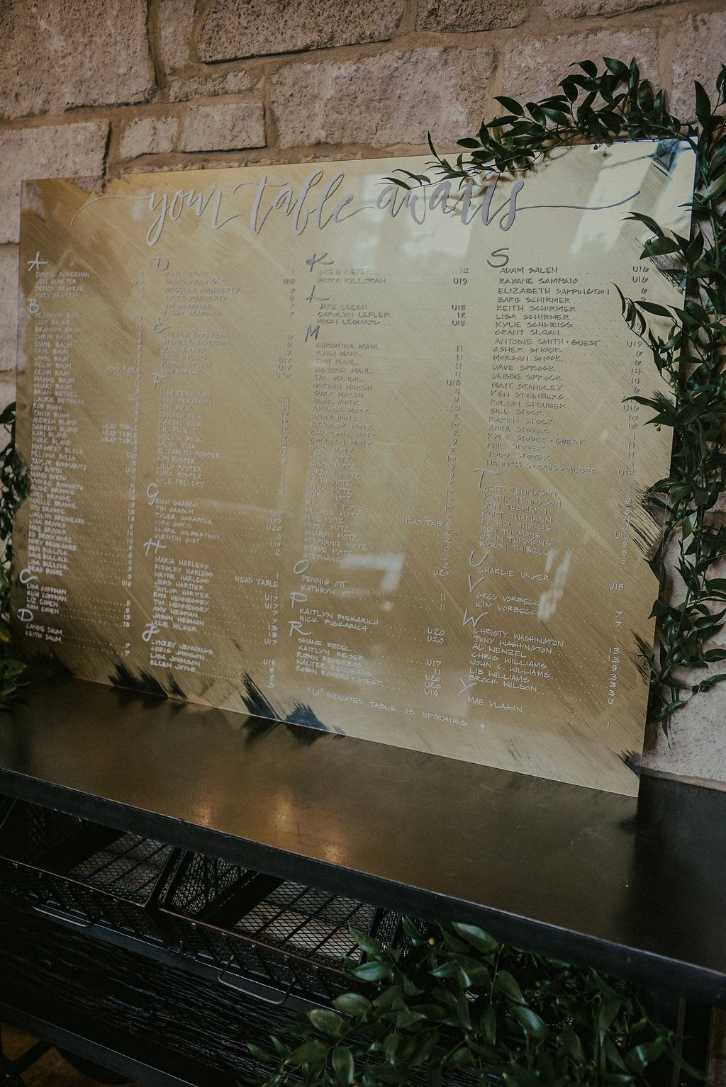 Mirror Seating Chart Wedding Gold Acrylic Plexi Plexiglass