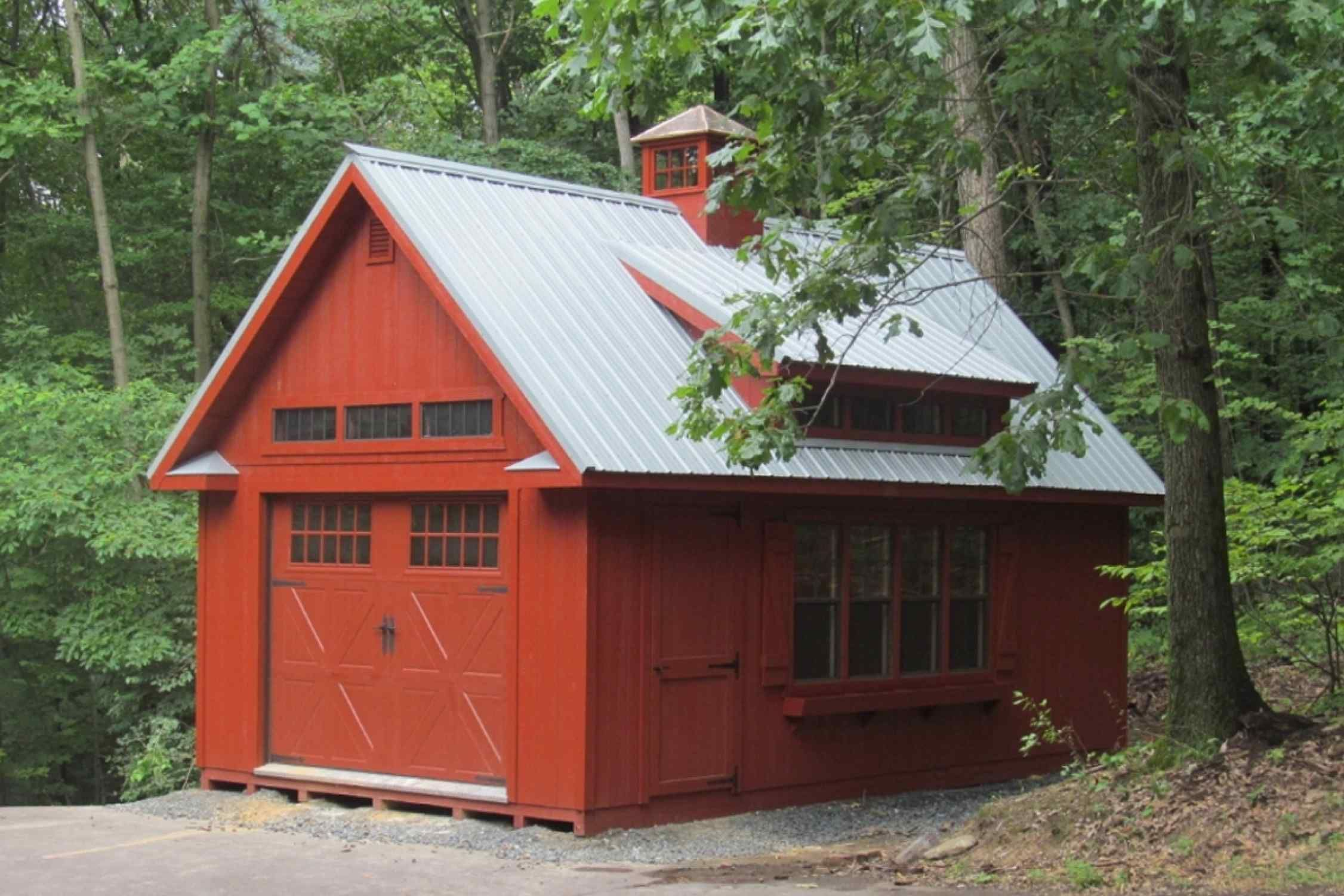 Lovely 14x24 Colonial Storage Barn, Duratemp Painted Siding, Metal Roof, 4 Transom  Dormer,