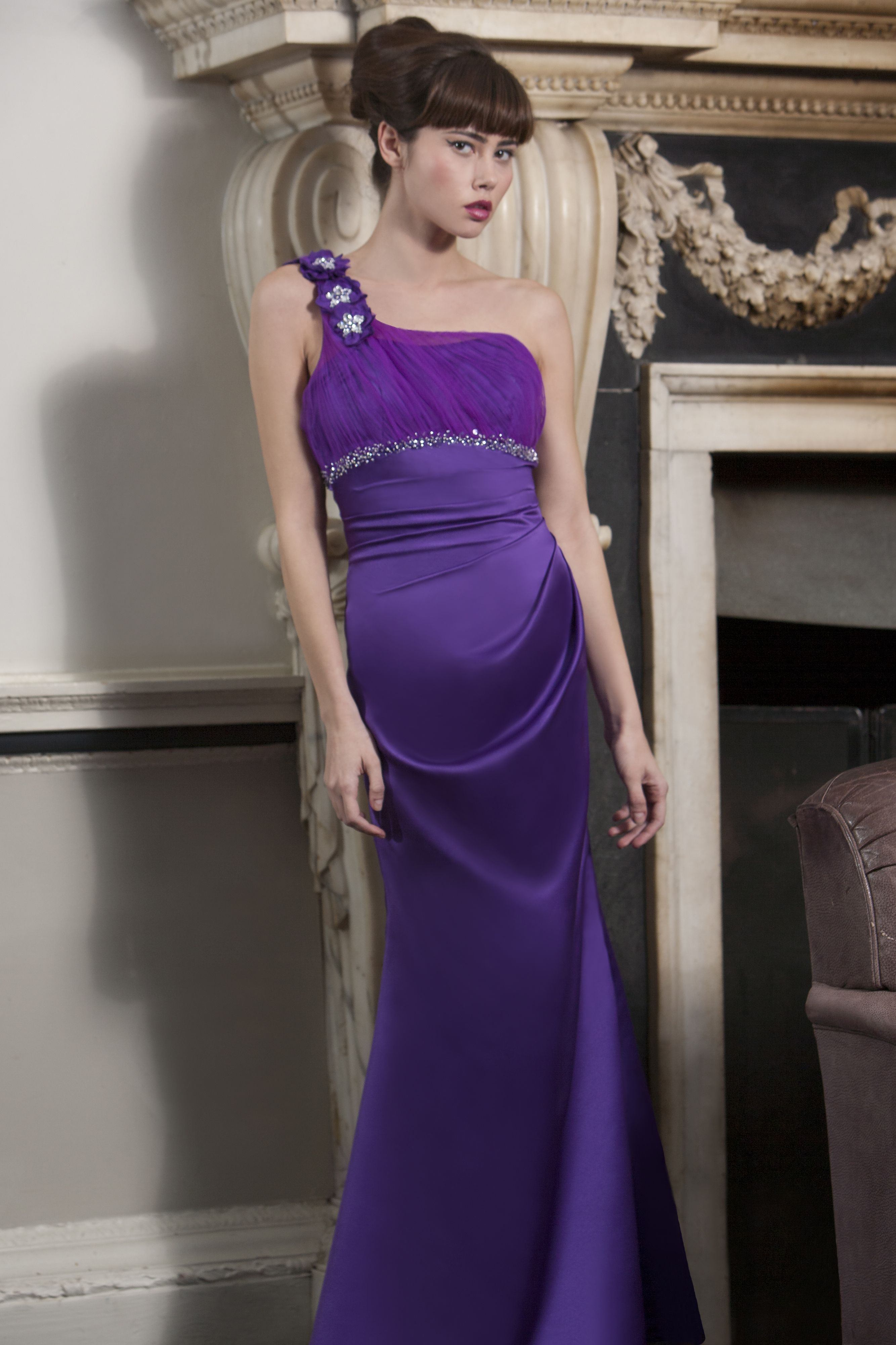 Luna B - Bardot Satin one shouldered bridesmaid dress with ruched ...