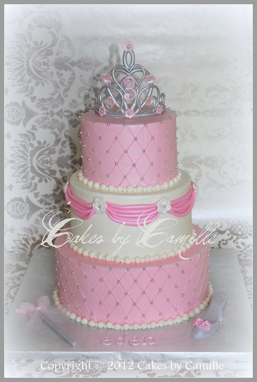 Princess Birthday Cake With Sculpted Fondant Crown