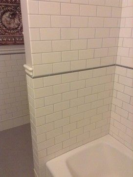 Gray Pencil Liner Tile With Chair Rail And Subway