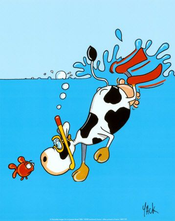 A comic of a cow snorkeling.