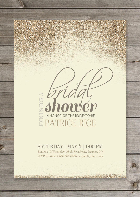 Free Printable Glitter Bridal Shower Invitation Templates Gold