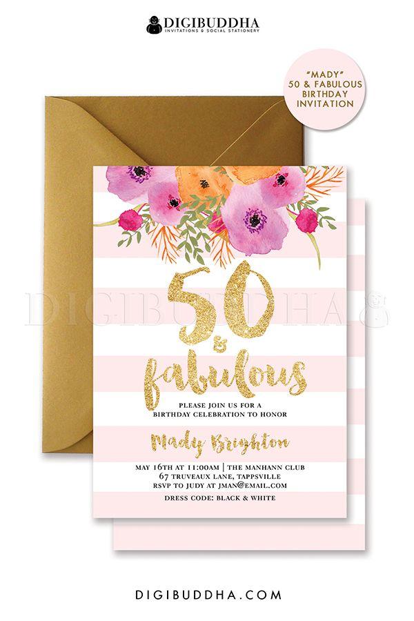 50 fabulous blush pink stripes birthday invitation with gold 50 fabulous blush pink stripes birthday invitation with gold glitter birthday party invitation personalized stopboris Gallery