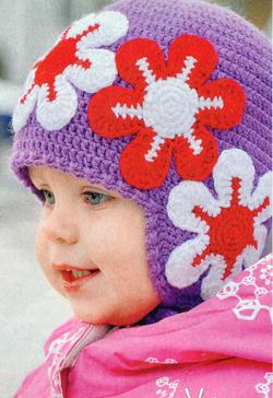 Схема вязания крючком, шапочка на девочку 2-3 года ...