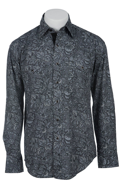 09d17874 Stetson Men's Black and Grey Plaid Western Shirt   Men's Apparel ...