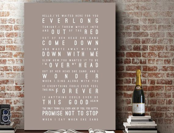 Foo Fighters Everlong Lyrics Love Song Wall Art Home Decor Anniversary Wedding Gift Typography