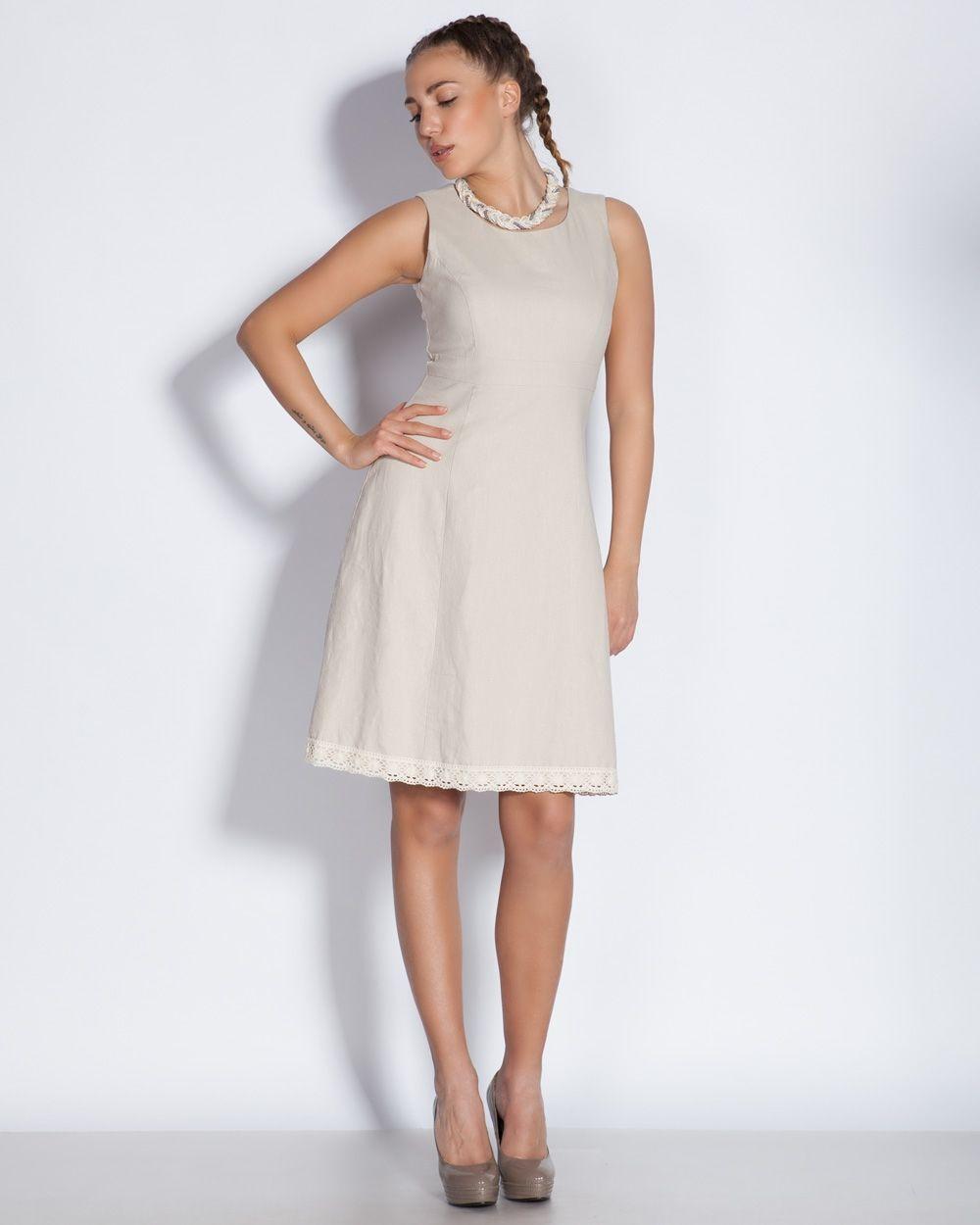 5869b490bfe Дамска рокля в бежово с плетена дантела - Beny #Ефреа #online #онлайн  #пазаруване #дрехи #рокля #къса #бежова #дантела