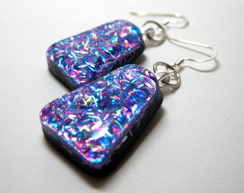 Cool sparkle resin earrings by experiencedesigns on