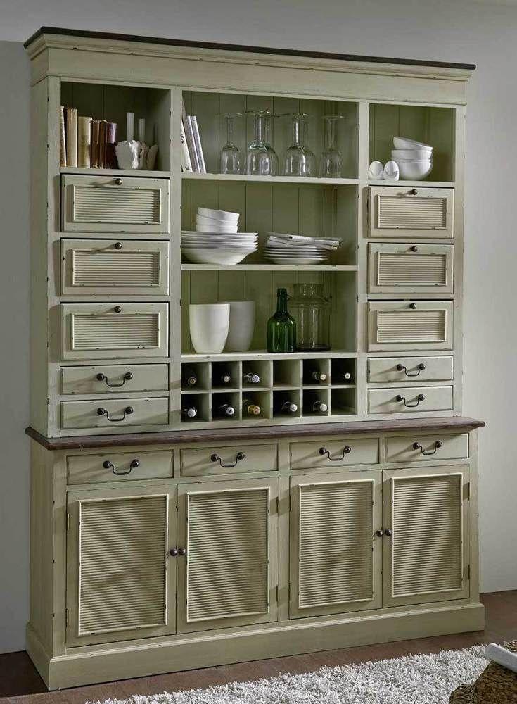 Buffet Vitrine Schrank Paulownia Holz Vintage Antik Creme Coffee Neu Ovp Buffet Cabinet China Cabinet