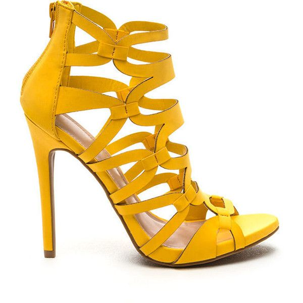 81b743fb7f7 YELLOW Confidence Boost Faux Nubuck Caged Heels ( 38) ❤ liked on Polyvore  featuring shoes