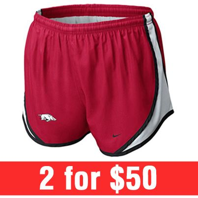 2 FOR $50 -- Mix & match your favorite women's Nike shorts! See entire selection here: http://www.rallyhouse.com/ncaa-shorts-pants/browse/sale/yes?utm_source=pinterest&utm_medium=social&utm_campaign=Pinterest-ArkansasRazorbacks
