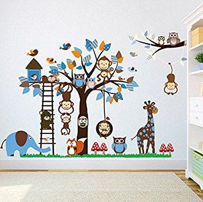 Wandtattoo Wandaufkleber Kinderzimmer Tiere Wandsticker Affe Elefant