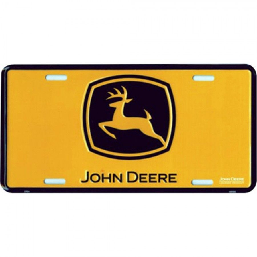John Deere Construction Yellow License Plate  698289bffe9