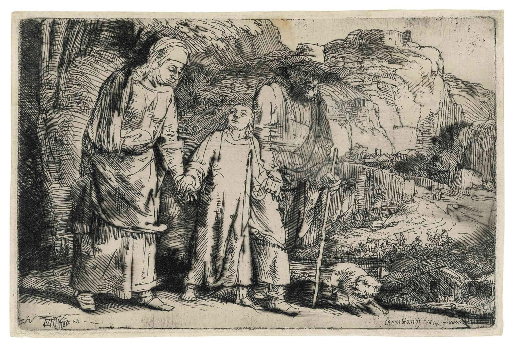 Rembrandt van Rijn (1606-1669) Christ Returning From The Temple With His Parents 1654 (98 x 148 mm)