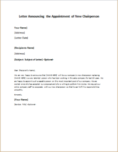 Letter Announcing The Appointment Of New Chairperson Download At