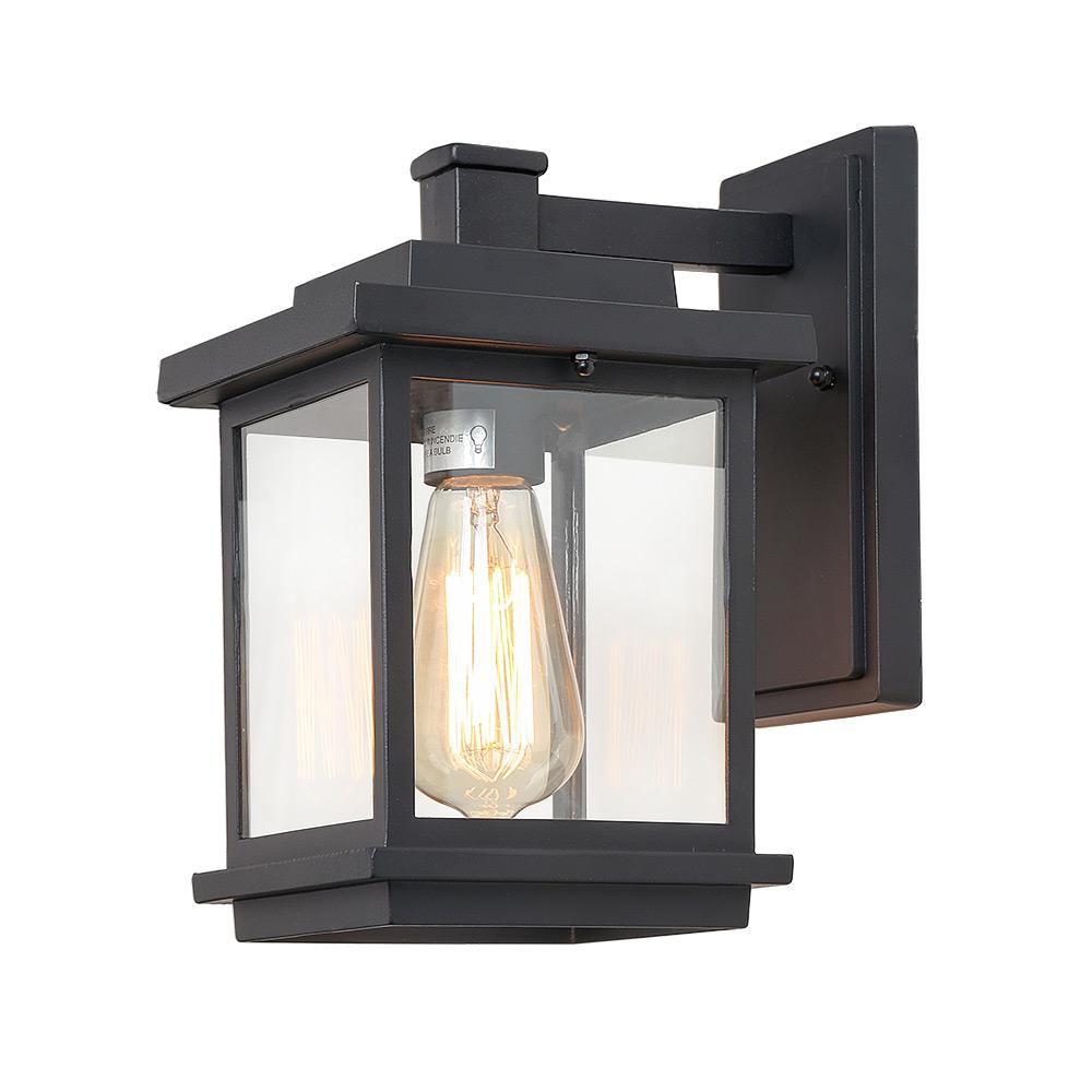 Lnc Square 1 Light Black Outdoor Wall Lantern Sconce With Clear Glass Shade A03156 The Home Depot Outdoor Wall Lantern Exterior Light Fixtures Outdoor Sconces