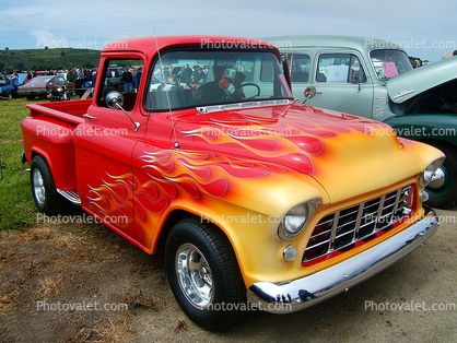 1955 Chevy Pick Up Truck Flames Chevy Chevrolet 1950 S Images Photography Stock Pictures Archives Fine Art Old Pickup Trucks Classic Trucks Gm Trucks
